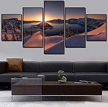 WANGZHONG 5 Panel Wall Art Sunrise Winter Crater
