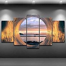 WANGZHONG 5 Panel Wall Art Sunset Seascape Frame