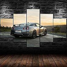 WANGZHONG 5 Panel Wall Art Super Car Performance