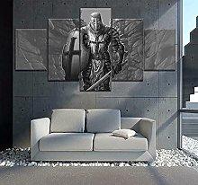 WANGZHONG 5 Panel Wall Art Templar Warrior