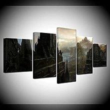 WANGZHONG -5 Panel Wall Art The Elder Scrolls Game