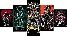 WANGZHONG 5 Piece Canvas Anime Poster Print For