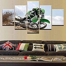 WANGZHONG 5 Piece Canvas Mountain Motocross Print