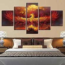 WANGZHONG 5 Piece Canvas Phoenix Firebird Print