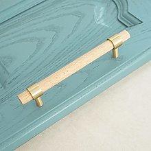 Wardrobe Handles 2Pcs Wood +Brass Cabinet Knobs