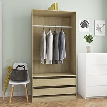 Wardrobe Sonoma Oak 100x50x200 cm Chipboard - Brown