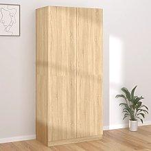 Wardrobe Sonoma Oak 90x52x200 cm Chipboard - Brown