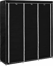 Wardrobe with Compartments and Rods Black