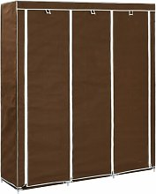 Wardrobe with Compartments and Rods Brown