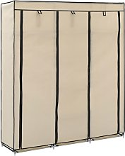 Wardrobe with Compartments and Rods Cream