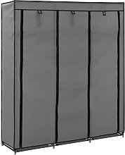 Wardrobe with Compartments and Rods Grey