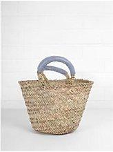 Warings Lifestore - Grey Leather Handled Basket -
