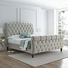Warm Stone Velvet Fabric Sleigh Bed, Happy Beds