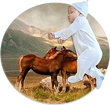WARMFM Animal Horses Hug Children Playing Area Rug