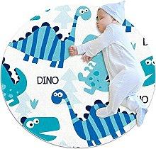 WARMFM Blue Dinosaur Pattern Children Playing Area