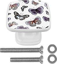 WARMFM Butterflies Door Pull Knobs Drawer Handles