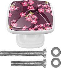 WARMFM Cherry Blossom Flower Door Pull Knobs