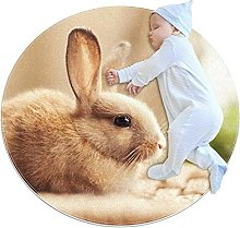 WARMFM Cute Bunny Children Playing Area Rug Round