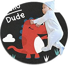 WARMFM Cute Dinosaur Children Playing Area Rug
