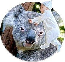 WARMFM Cute Koala Children Playing Area Rug Round