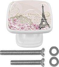 WARMFM Eiffel Tower Pink Flower Door Pull Knobs
