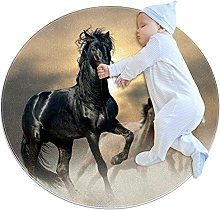 WARMFM Horses Animated Children Playing Area Rug