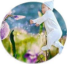 WARMFM Iris Flower Children Playing Area Rug Round