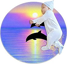 WARMFM Jumping Dolphins Children Playing Area Rug