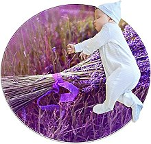 WARMFM Lavender Flowers Children Playing Area Rug