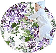 WARMFM Lilac Flowers Sofa Carpets Floor Mat Round
