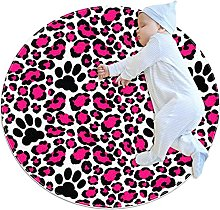 WARMFM Pink Leopard Texture Round Area Rug for