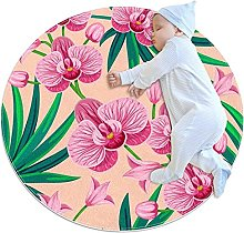WARMFM Pink Orchid Flower Round Area Rug for