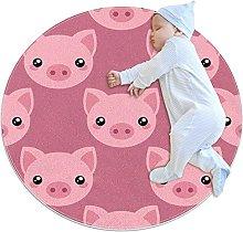 WARMFM Pink Pig Round Area Rug for Bedroom Living