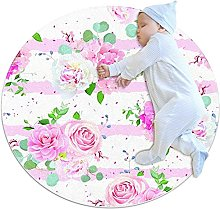 WARMFM Pink Stripe Peony Flowers Round Area Rug