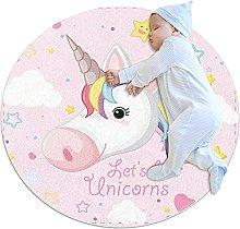 WARMFM Pink Unicorn Round Area Rug Non Skid Soft