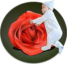 WARMFM Red Rose Flower Children Playing Area Rug