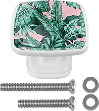 WARMFM Summer Palm Leaves Door Pull Knobs Drawer