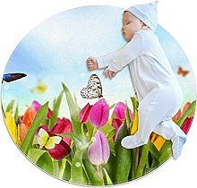 WARMFM Tulip Flowers Butterflies Children Playing