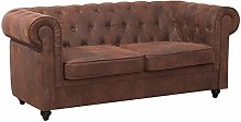 Warmiehomy Chesterfield Leather 2 Seater Sofa