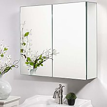 Warmiehomy Double Door Bathroom Mirror Cabinet