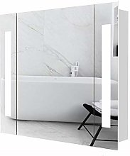 Warmiehomy Illuminated Bathroom Mirror Cabinet