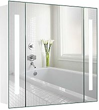 Warmiehomy LED Illuminated Bathroom Mirror Cabinet