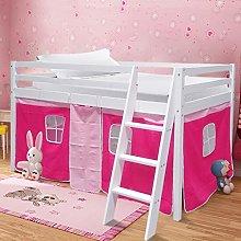 Warmiehomy Mid Sleeper Cabin Bed, Solid Pine Wood
