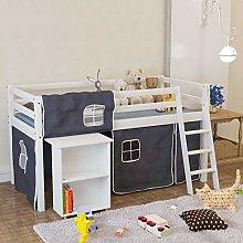 Warmiehomy Mid Sleeper Cabin Bed with Side Desk,