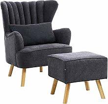 Warmiehomy Modern Fabric Armchair Wing Back