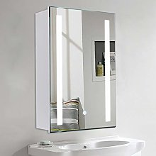 Warmiehomy Modern LED Bathroom Mirror Cabinet with