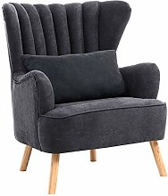 Warmiehomy Modern Suede Fabric Armchair Wing Back
