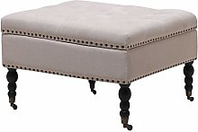 Warmiehomy Square Chesterfield Footstool,Linen