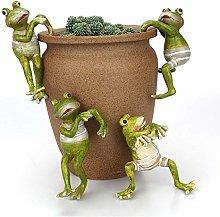 Warooma 4 Pcs Cartoon Climbing Frogs Planter Pot
