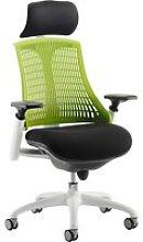 Warp White Frame Green Mesh Back Operator Chair